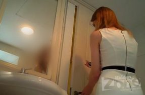 Под платьем в туалете